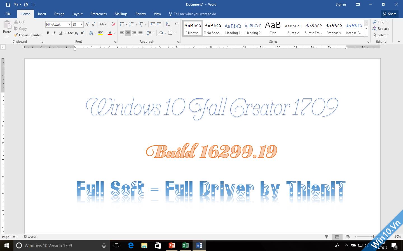 Ghost Windows 10 1709 Full Soft Full Driver 32bit/64bit by ThienIT 75