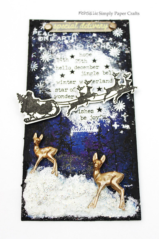 Meihsia Liu Simply Paper Crafts Mixed Media Tag Christmas Night Star Simon Says Stamp Tim Holtz