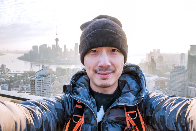 Selfie portrait on the rooftop in Shanghai China