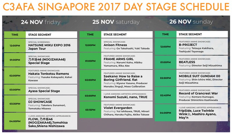 C3AFA SG2017 DAY STAGE SCHEDULE