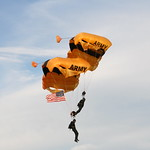 The Golden Knights take to the skies at Midwest Freefall Sport Parachute Club.  Photo courtesy of experienced jumper Tony Crimando.