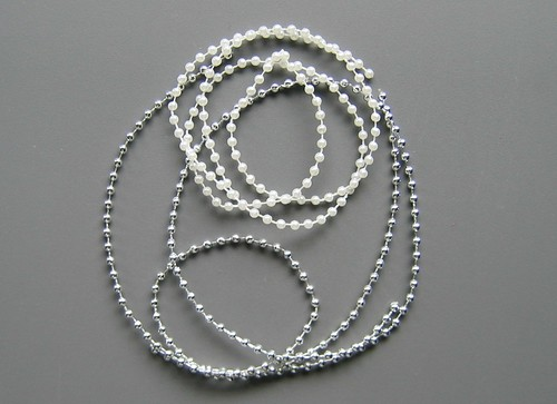 Polystyrene String Beads - Silver and Pearl White