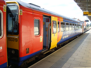 Class 153 number 153319 and a fellow-unit at Derby station