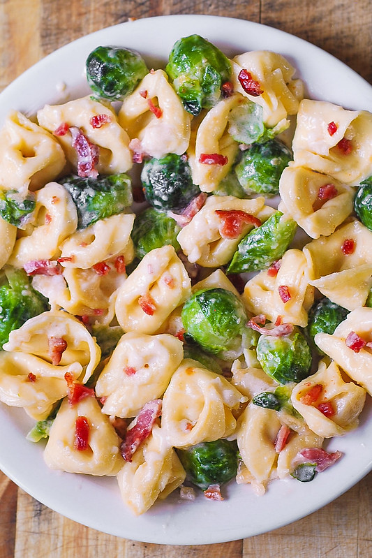 creamy brussels sprouts with bacon, easy brussels sprouts recipes, quick brussels sprouts dish