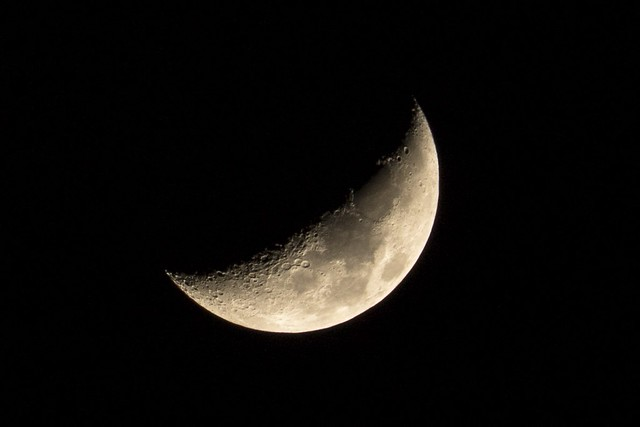 35% Waxing crescent, Canon EOS REBEL T6S, Canon EF-S 55-250mm f/4-5.6 IS STM
