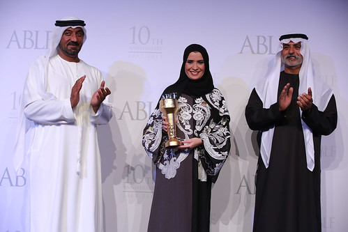 H.E. Dr Amal Abdullah Al Qubaisi, President and Speaker, Federal National Council (FNC), UAE, receiving the ABLF Stateswoman Award from H.H. Sheikh Nahayan Mabarak Al Nahayan, Cabinet Member and Minister of Tolerance, UAE