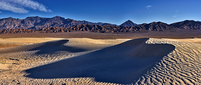 Sunset Panoram at Mesquite Flat Sand Dunes - Death Valley