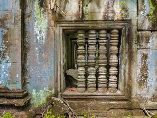Ventana de templo en Beng Mealea, Siem Riep, Camboya