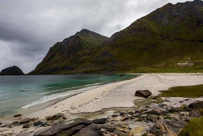 Norja Norway ranta valkoinen hiekka turkoosi meri Haukland_