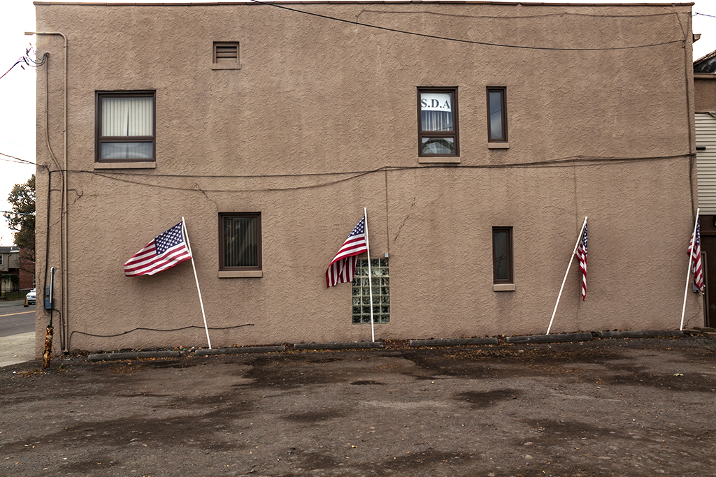 Four flags on side of building--Scranton