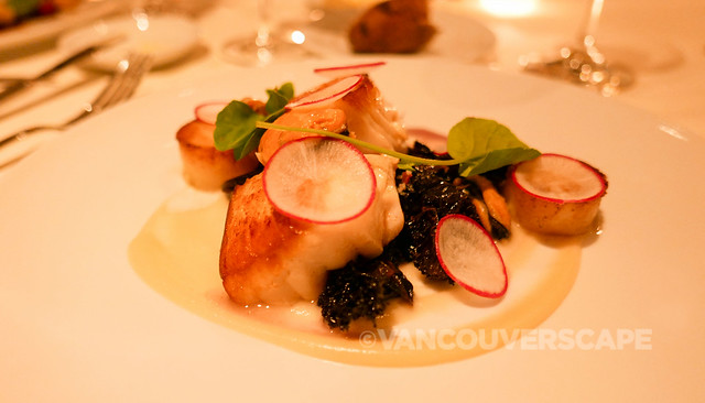 Pan-roasted Sablefish, black kale, potato fondant
