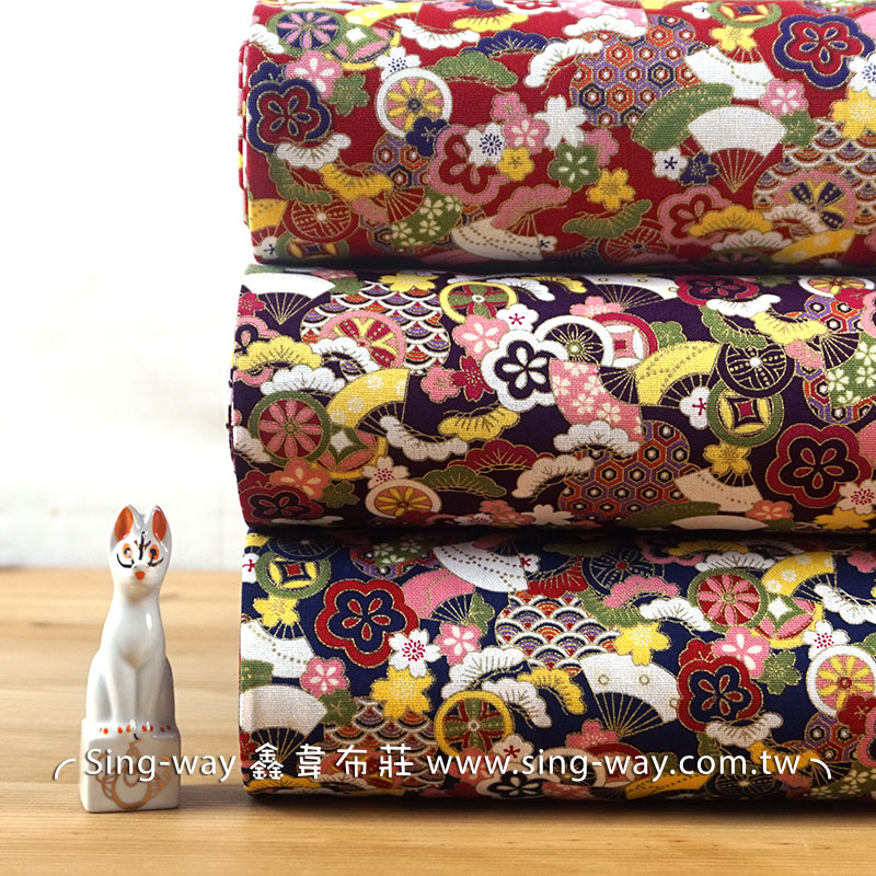滿滿喜氣扇子 日式和風燙金邊 吉祥物 節慶佈置 紅包袋 手工藝DIy拼布布料 CF550619