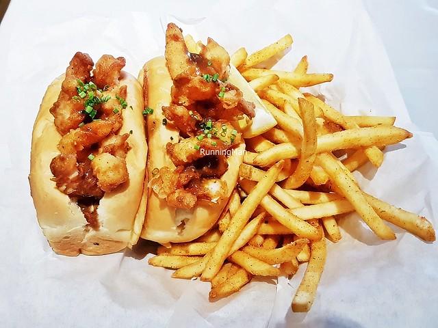 Popcorn Shrimp Po' Boy With Spicy Cajun Fries