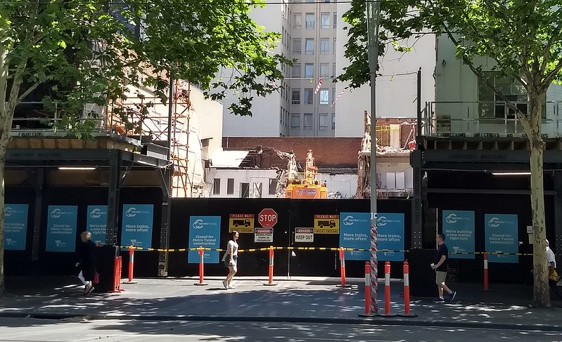 Metro tunnel construction on Swanston Street