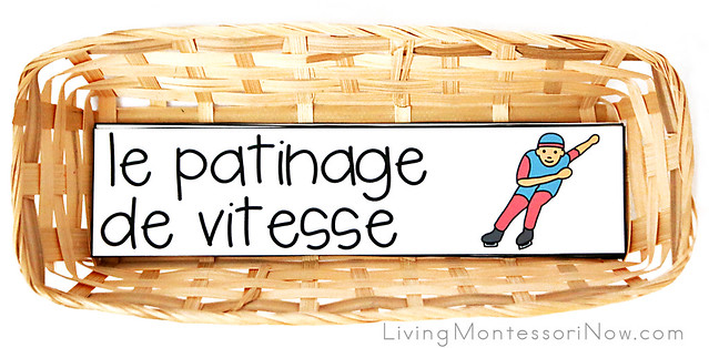 Basket with French Winter Sports Vocabulary Cards