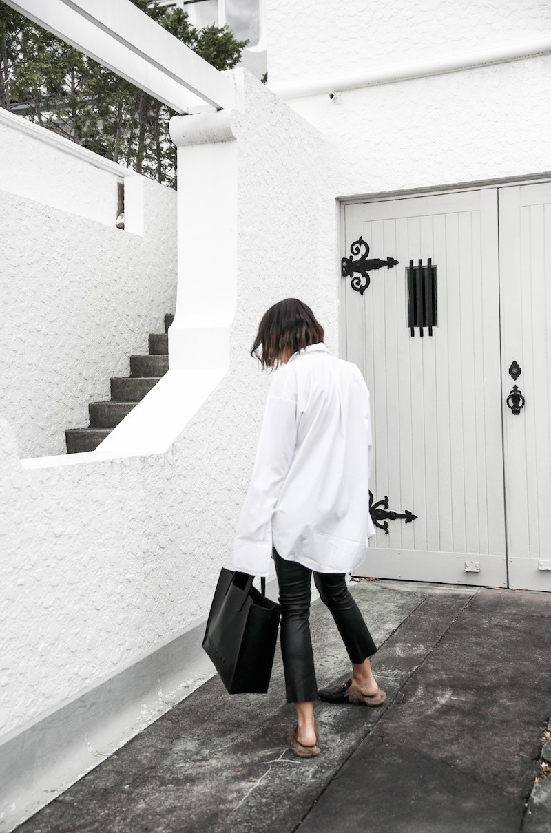 minimal monochrome fashion blogger bassike black leather pant givenchy logo tote stargate oversized white shirt blunt bob brunette Instagram (5 of 15)
