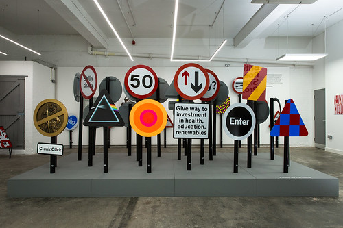 British Road Signs at Humber Street Gallery. Photo © James Mulkeen