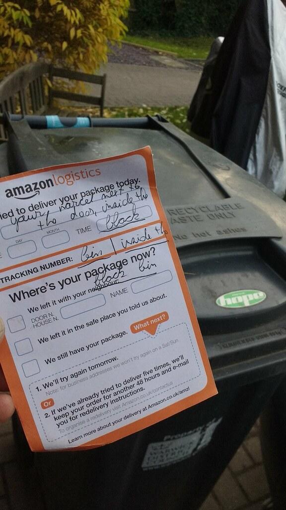 Amazon Courier Rant Parcel Left In Wheelie Bin Content