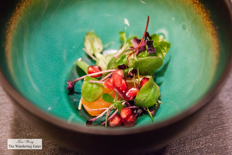 Salmon tataki, pomegranate salad