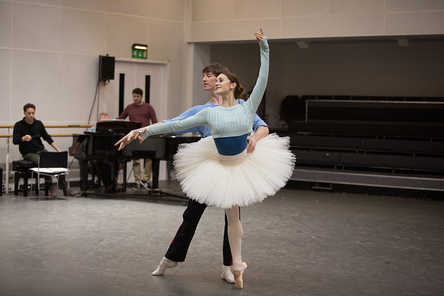 Marianela Nuñez and Vadim Muntagirov in rehearsal for Sylvia  © 2017, ROH. Photograph by Alice Pennefather