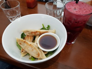 Dumplings and Skin Cleanser Juice at The Green Edge