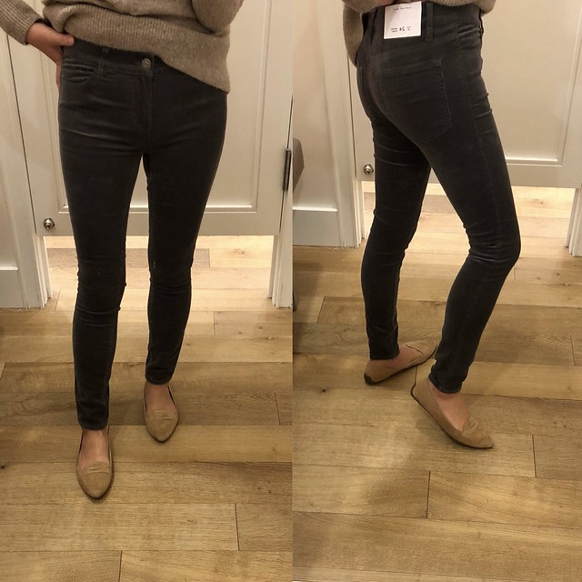 LOFT Skinny Brushed Corduroy Pants in alley grey, size 24/00 regular
