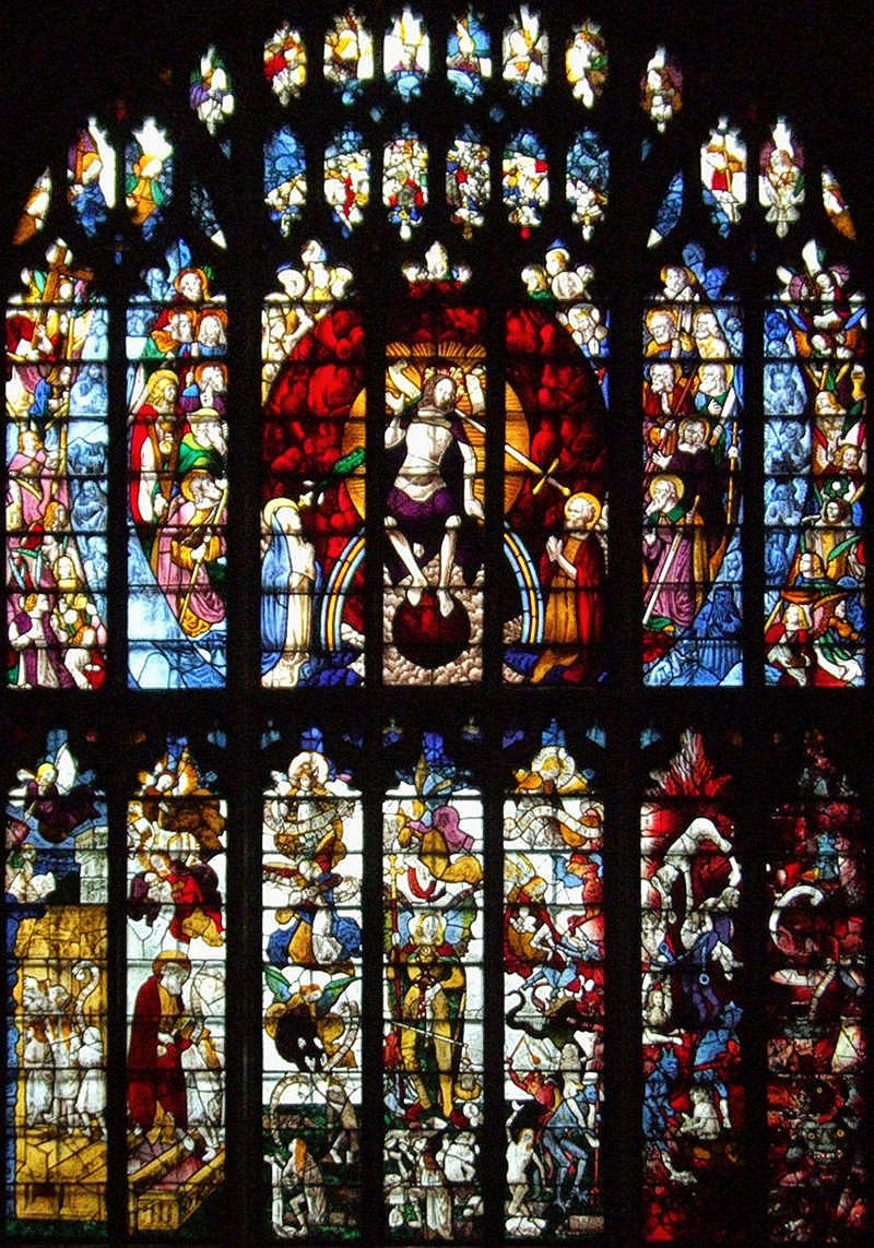 The Last Judgment. Stained glass window in St Mary's Church, Fairford, Gloucestershire