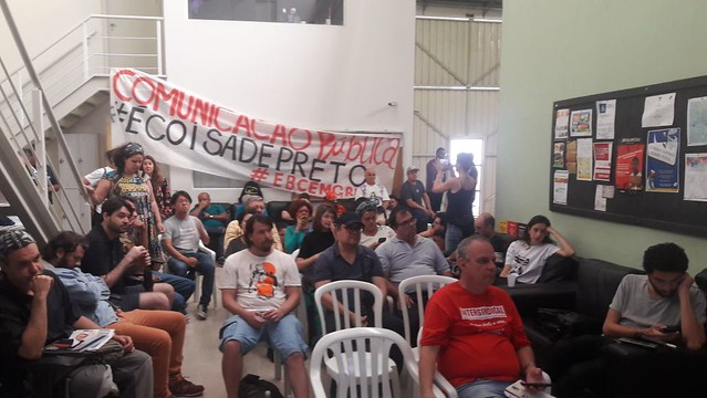 Em assembleia, trabalhadores da EBC decidem a permanência da greve - Créditos: Reprodução