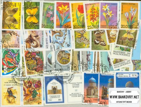 Známky Uzbekistan 64 ks rôznych + 5 hárčekov