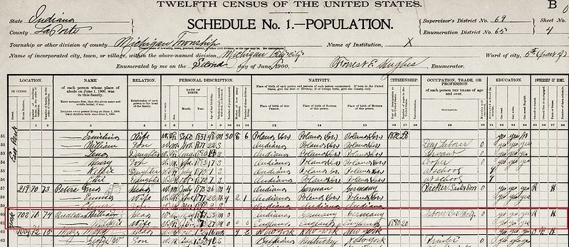 Biederstadt Wm and Maggie Casbon 1900 Census Michigan City IN