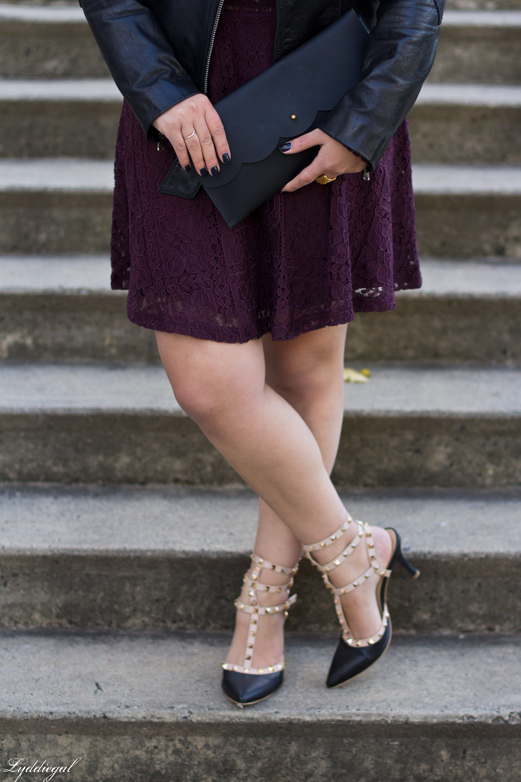 purple lace dress, black leather jacket, studded pumps-12.jpg