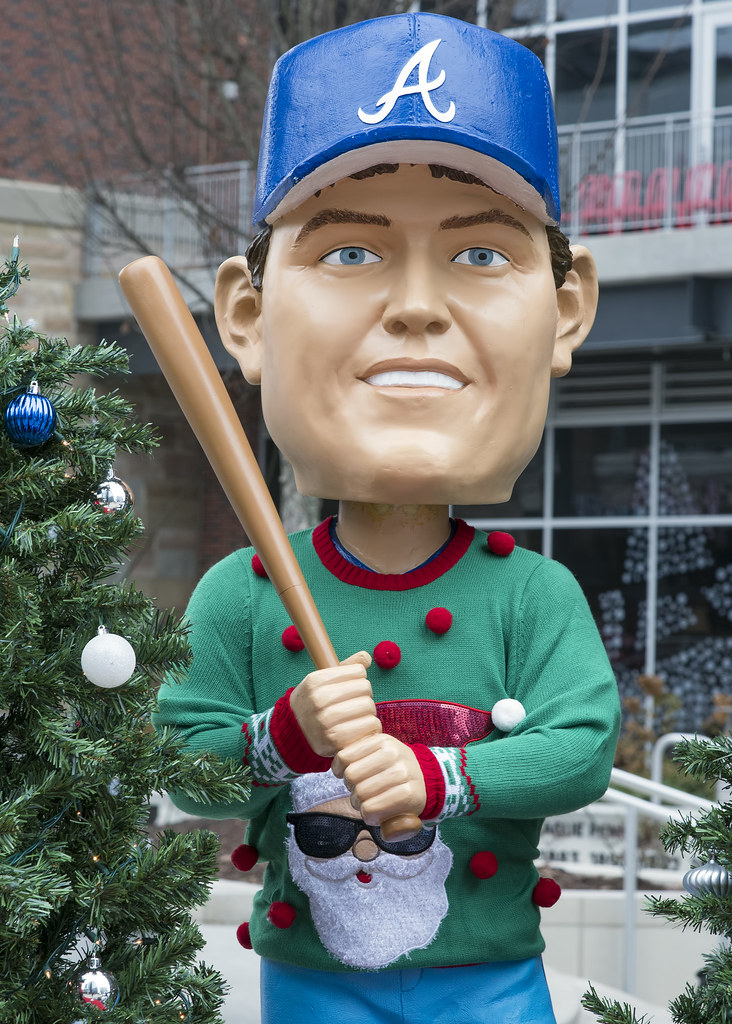 Dale Murphy outside of Suntrust Stadium in ugly Christmas sweater