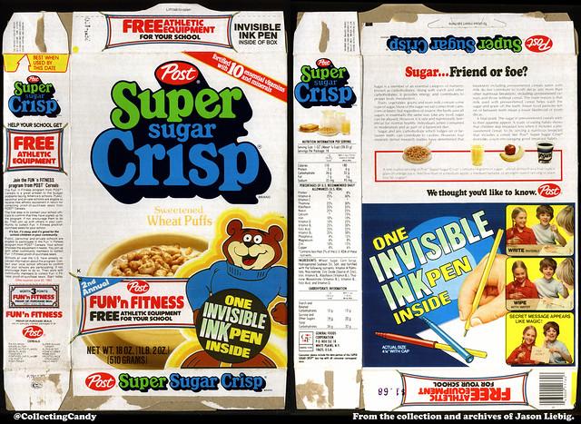 Post - Super Sugar Crisp - Invisible Ink Pen Inside - Fun'n Fitness - 18oz cereal box - 1982