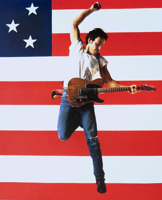 Bruce Springsteen, Born in the USA concert tour, 1984. Photo by Annie Leibovitz. Chrome advertising postcard published by Fotofolio