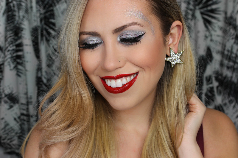 Crazy Glitter Holiday Makeup Tutorial Glossy Red Lipstick