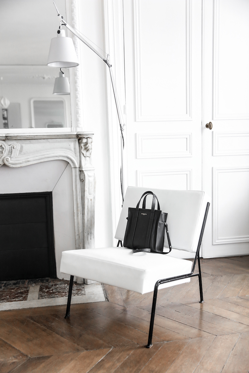 balenciaga bazar tote xs black leather paris apartment minimal interiors inspo white fashion blogger kaity modern legacy Instagram (1 of 2)-2
