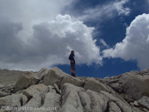 Our weatherman checks current conditions above Mono Pass in Inyo National Forest, California