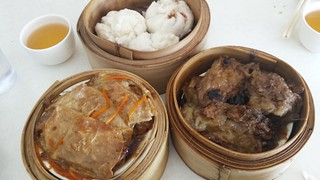 Steamed Pork Buns, Eggplant in Black Beans, Steamed Bean Curd Rolls at Easy House