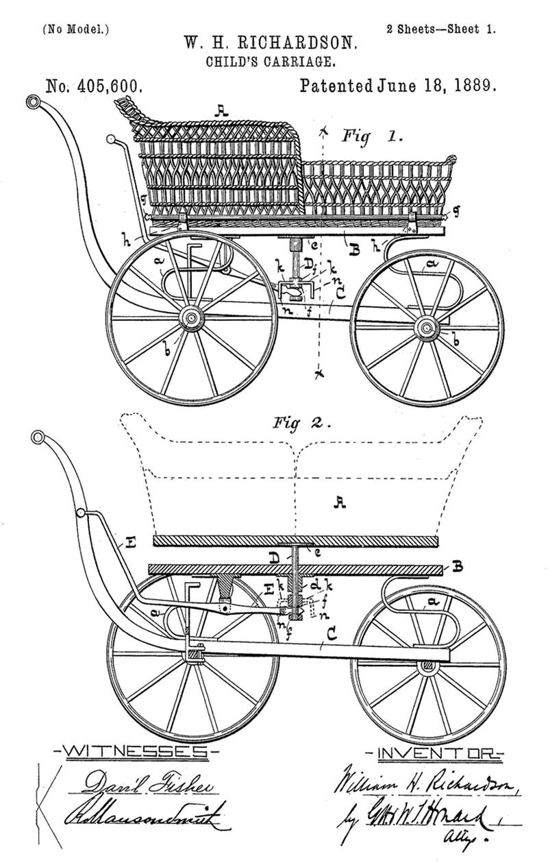 US Patent for a reversible child's carriage