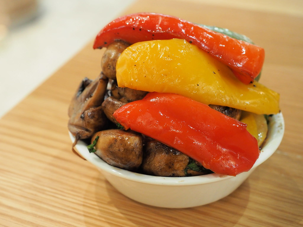 Colorful grilled vegetables and mushroom.