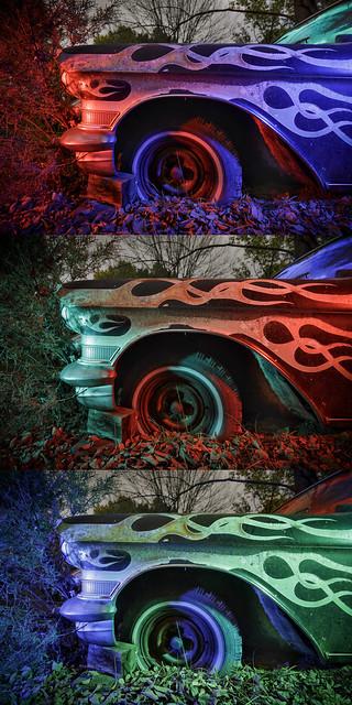Cadillac Flames Triptych