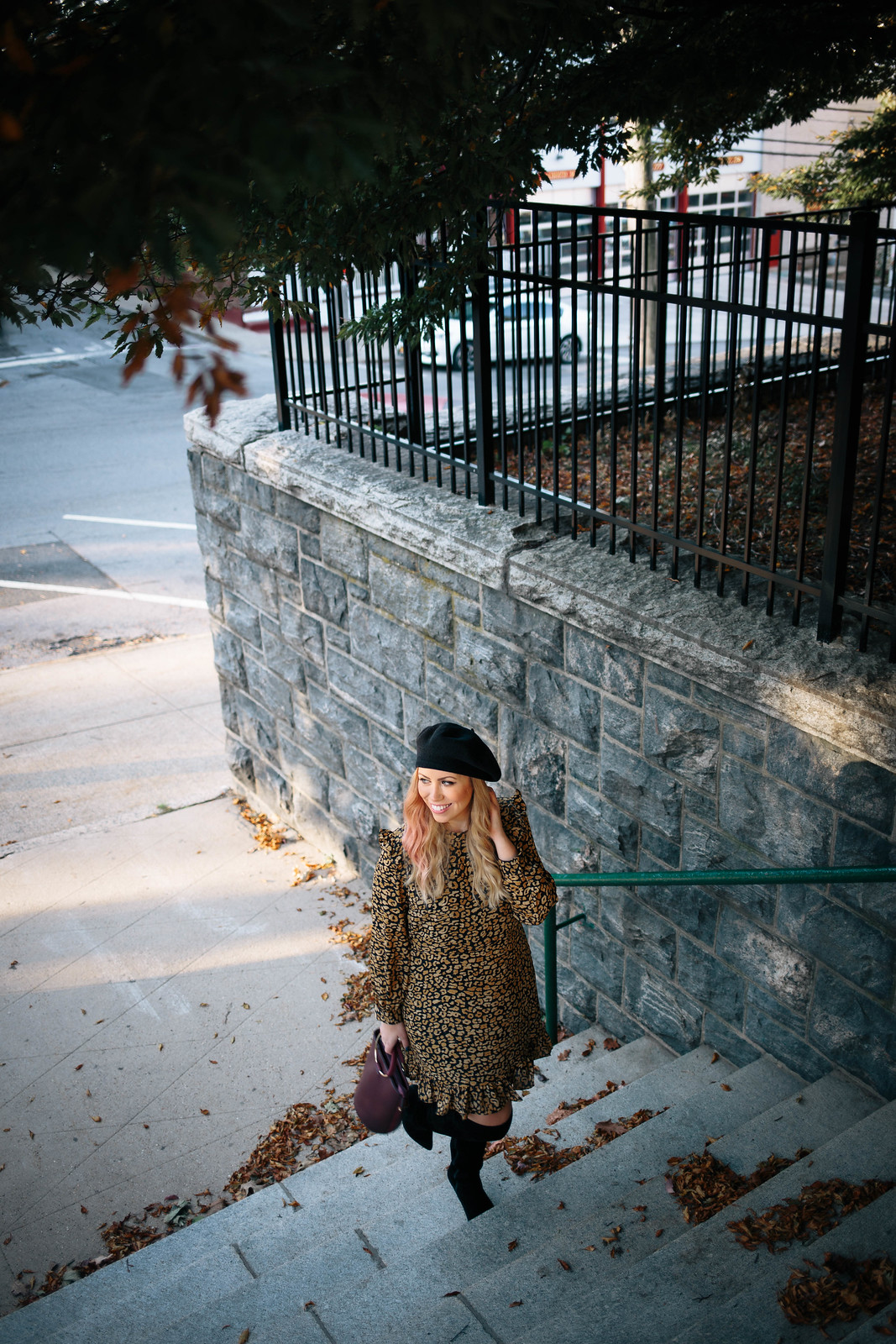 Street Style Fashion Personal Style Fall Fashion Irvington New York Black Beret Leopard Dress