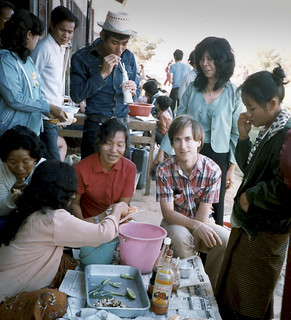 Breakfast in the Panat Nikhom Refugee Processing Center with Cambodian students in 1983