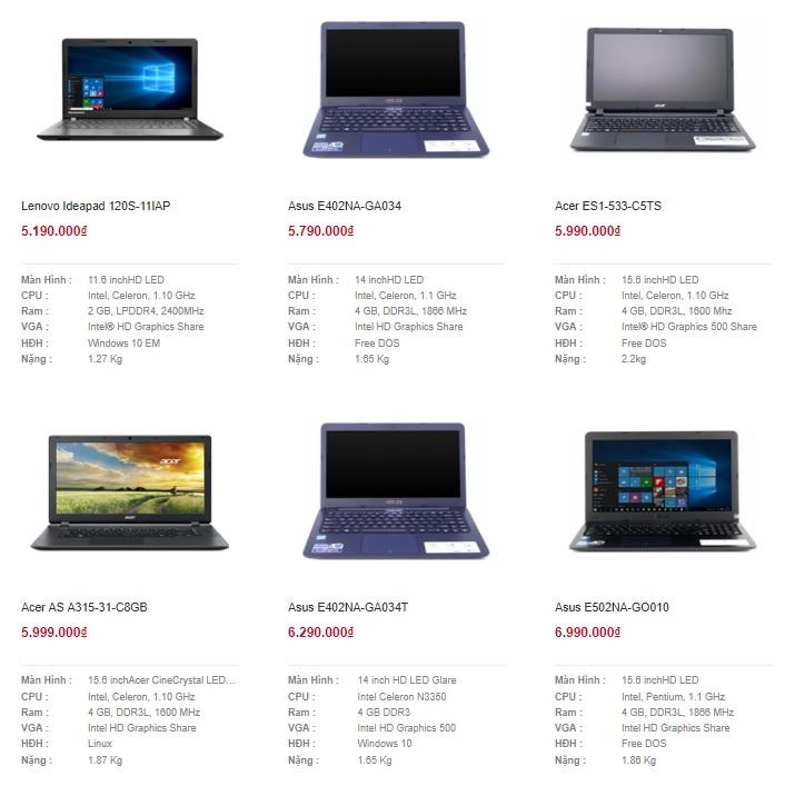 laptop cu gia 2 trieu