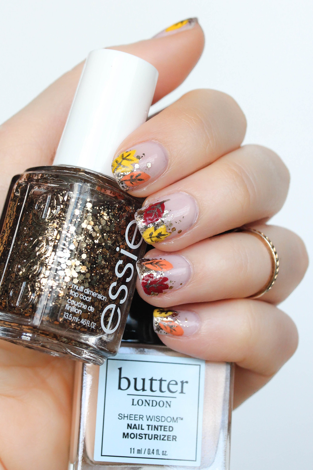 Fall Foliage Manicure Essie Glitter Nail Polish Summit of Style Butter London Sheer Wisdom Nail Tinted Moisturizer Fair