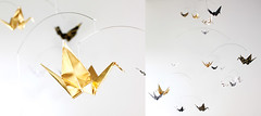 Black White and Gold Paper Crane Mobile