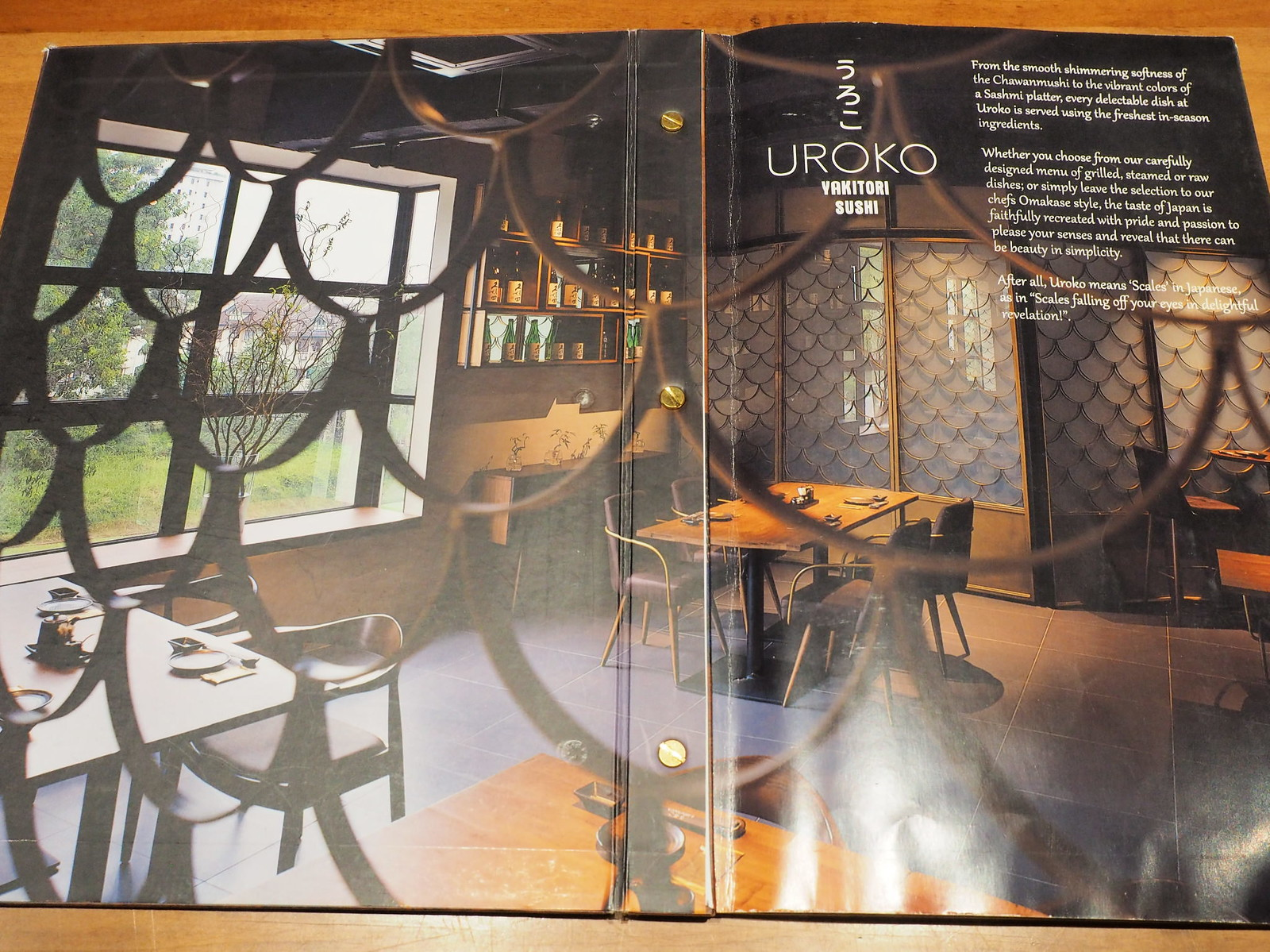 Menu showing the interior of Uroko Japanese Cuisine Restaurant