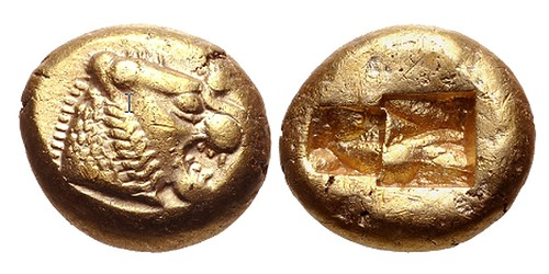 Electrum coin of Lydia with lion head