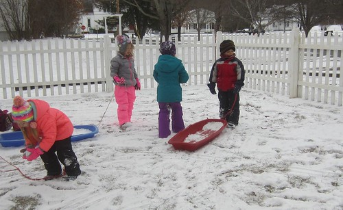 sleds with snow