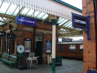 Platform furniture, buildings and canopy at Loughborough on the Great Central Railway